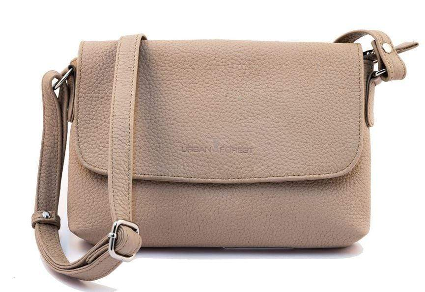 Front view of Small Leather Handbag showing strap. Sand coloured. By Urban Forest.
