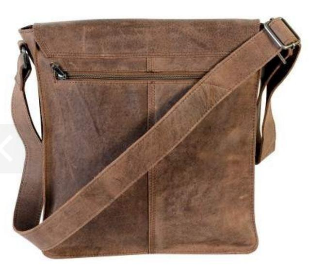 Brown Leather Satchel Bag by Urban Forest,showing straps.