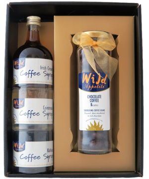 two coffee based gourmet food items in a gift box