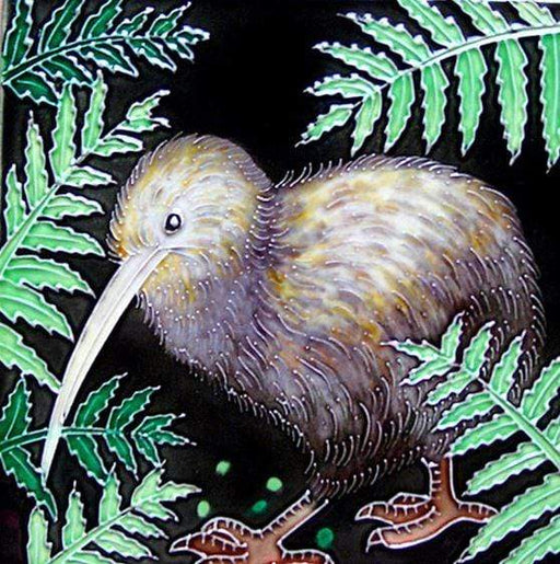 Ceramic wall tile made by local NZ artisan featuring a Kiwi