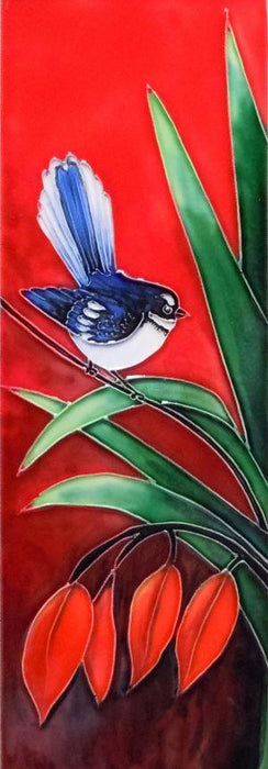 Ceramic Wall Art - Fantail on a Palm 30 x 10 cm