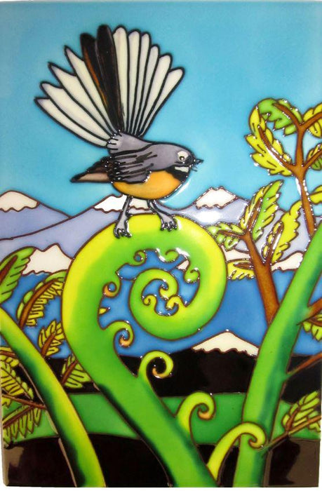 Large 20 cm by 30 cm ceramic wall tile featuring a fantail on a fern