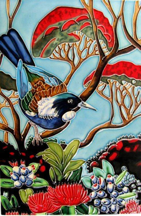 Ceramic art tile -Tui on a Pohutukawa