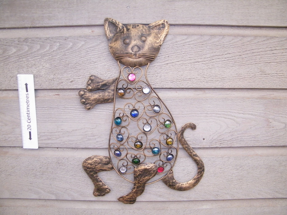 ornamental metal cat with coloured beads