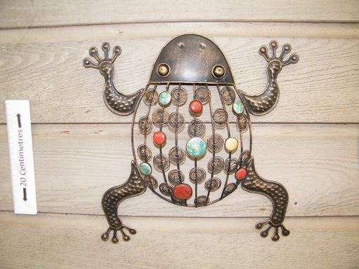 ornamental metal frog with coloured beads