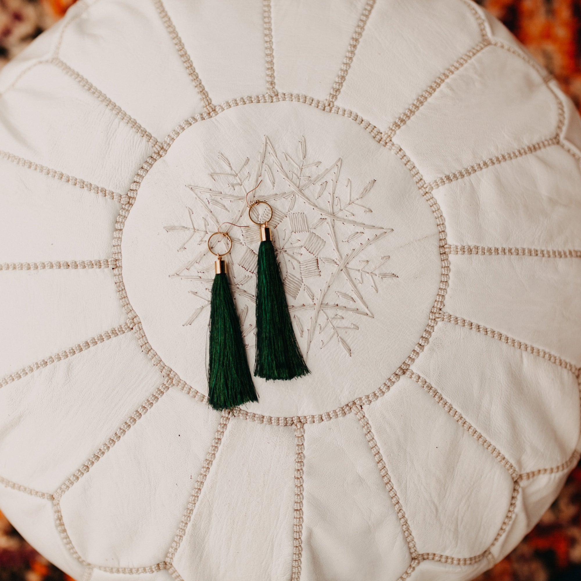 Sebina Tassel Duster Earrings (forest green colored)