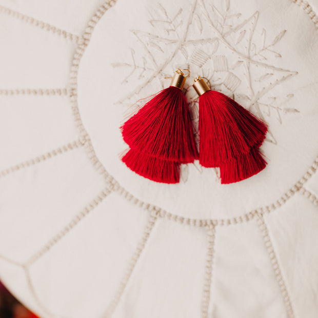 Monica Tassel Earrings (deep red)