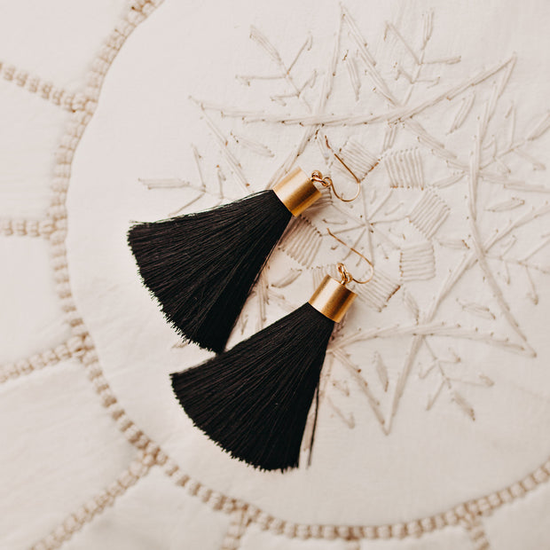 Antonia Tassel Earrings (black colored)