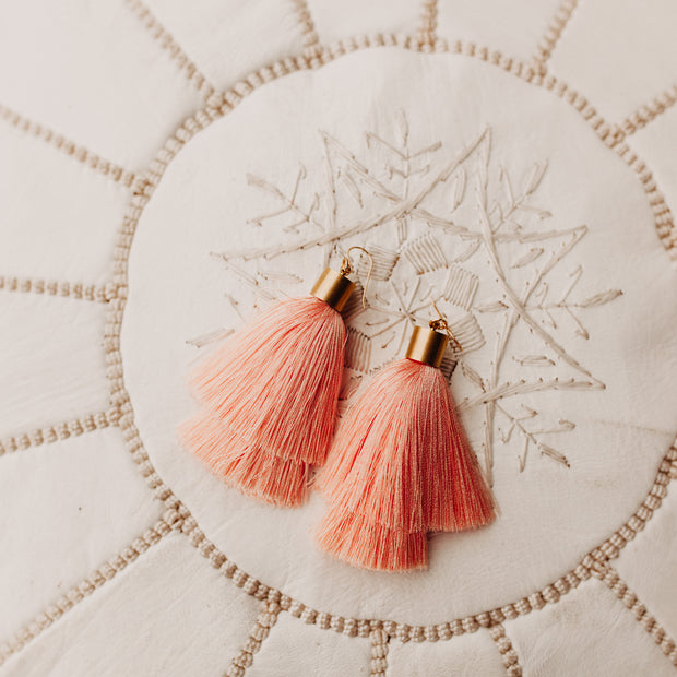 Monica Tassel Earrings (Pinky Peach)