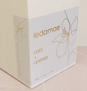 ' LILIES + LEATHER ' soy candle