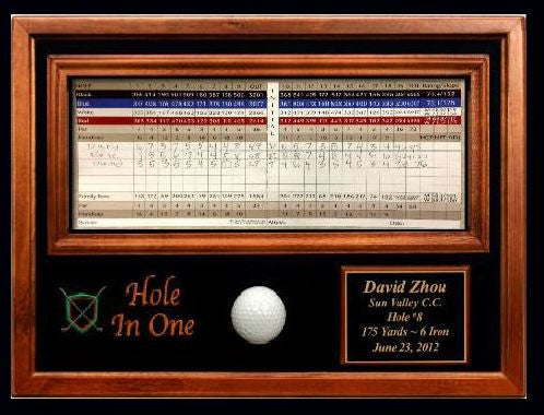 Lincoln Valley Golf Course Hole in One Ball & Scorecard Display