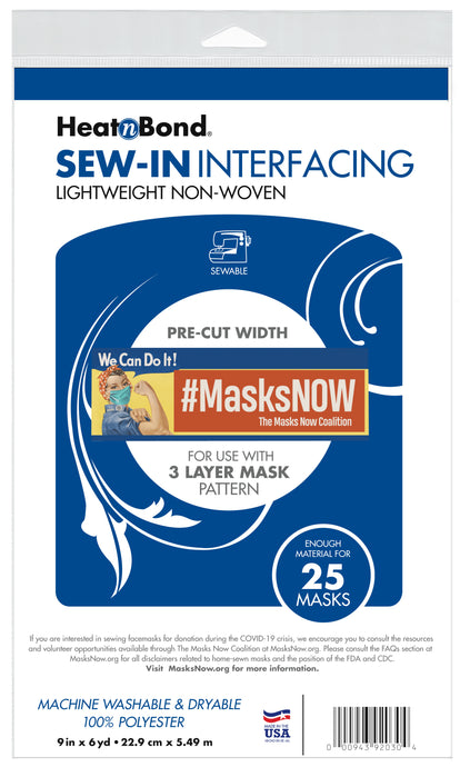 Sew-In Lightweight Nonwoven Interfacing Pack, 9 in x 6 yds (Pre-Cut Width)