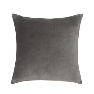 Velvet Linen Cushion - Slate / Natural Linen