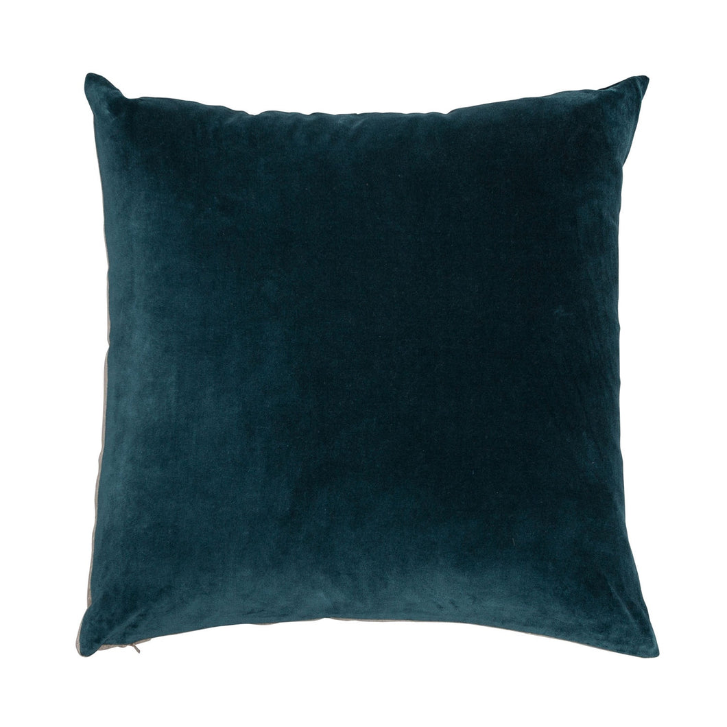 Velvet Linen Cushion - Lomond Teal / Natural Linen