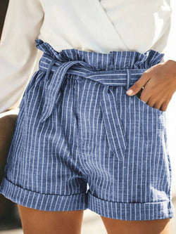 Striped Cotton and Linen Loose Shorts