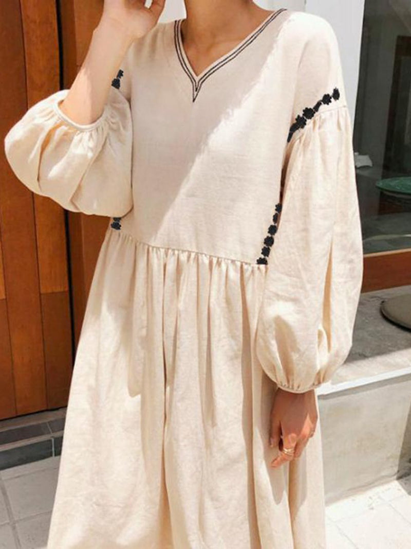 Retro Lantern 3/4 Sleeve Long Skirt Solid Color Dress