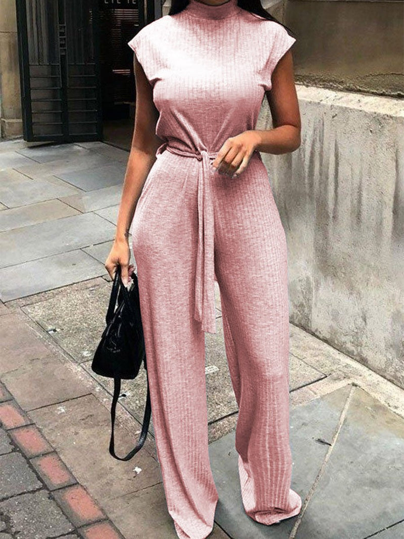 V-neck Loose Knit Casual Jumpsuit