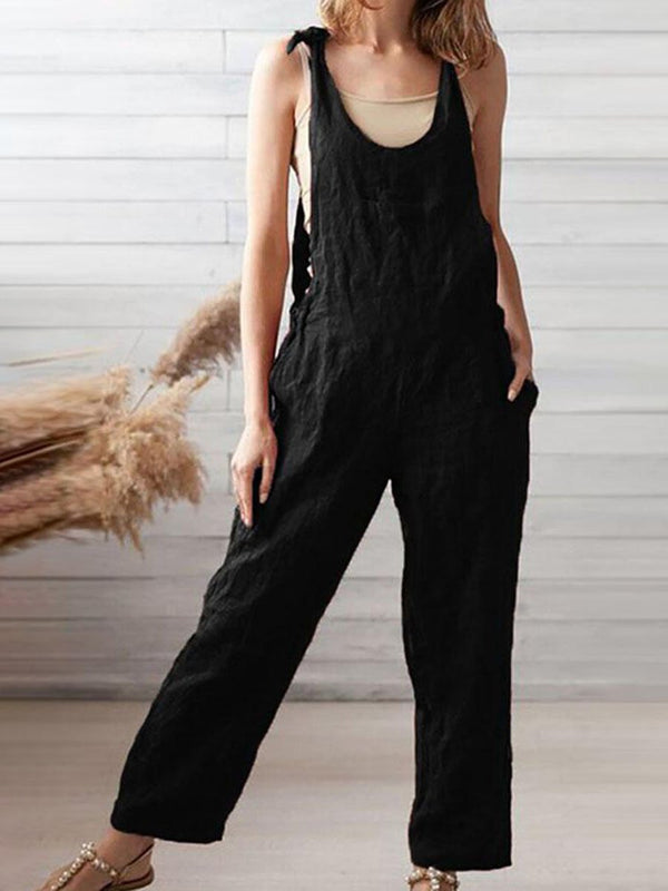 Cotton and Linen Fashion Jumpsuit
