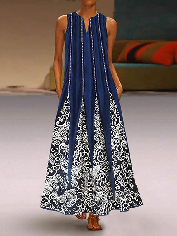 Bohemian Ethnic Print Sleeveless Maxi Dress
