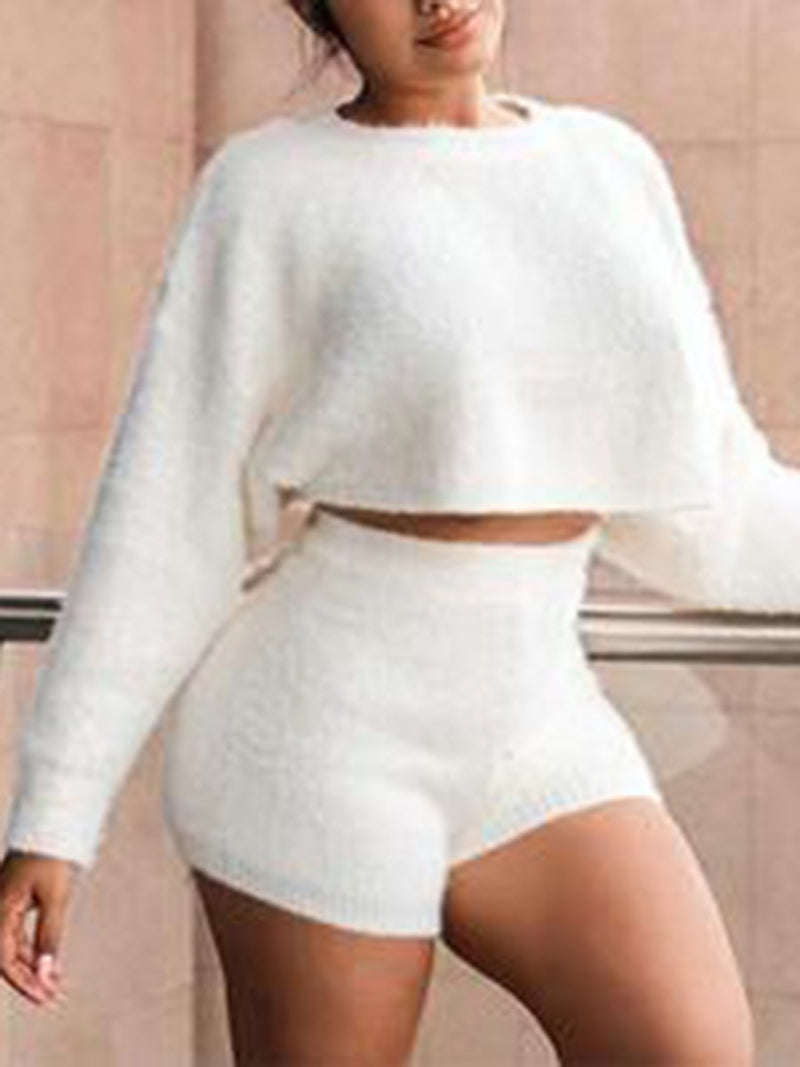 Fashion Casual Shorts Long Sleeve Two-piece Suit