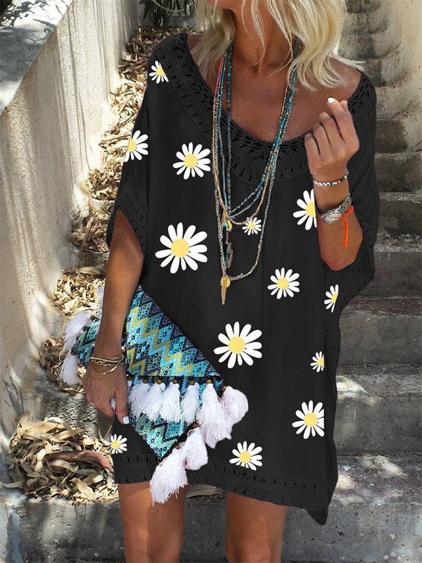 Sexy V-Neck Loose Sunflower Print Casual Dress