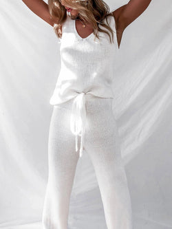 Simple Solid Color Sleeveless Knitted Sweater Suit