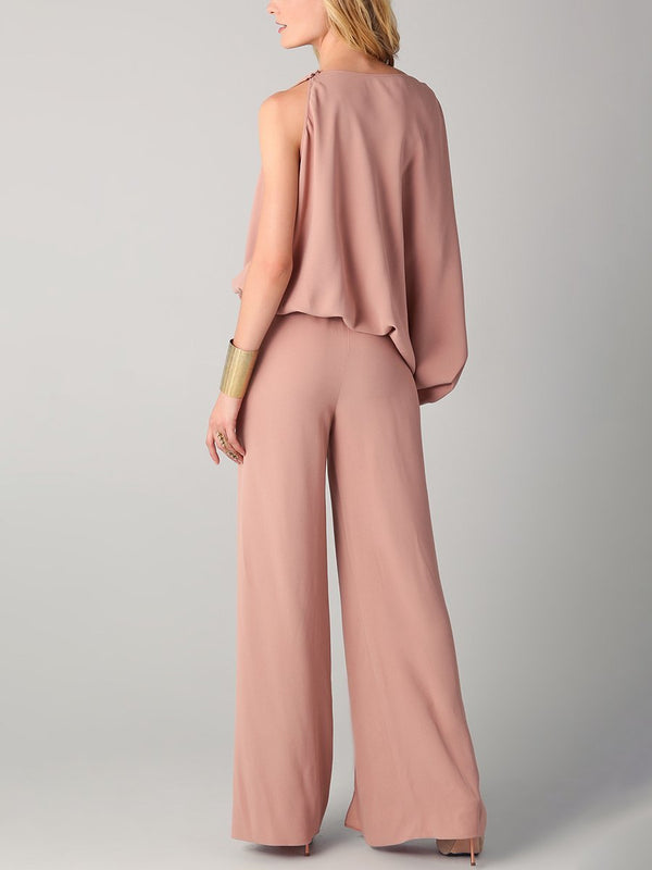 Irregular One-piece Strapped Waist Flared Pants Set