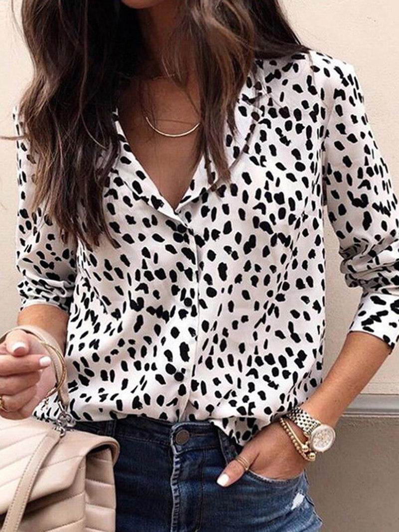 Fashion Print Leopard Button Long Sleeve Shirt