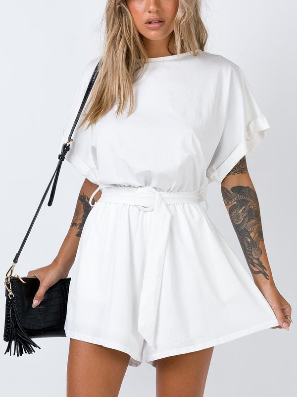 Lace-up Casual Short Jumpsuit