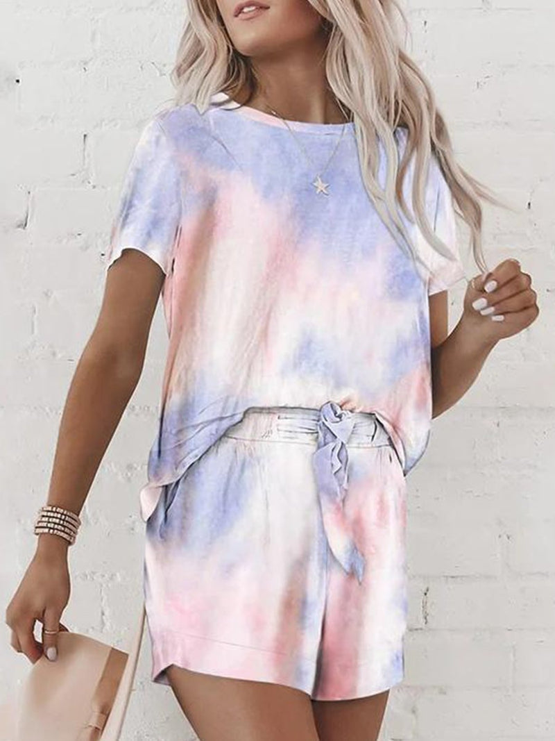 Tie-dye Printed Short Sleeve Two-piece Suit