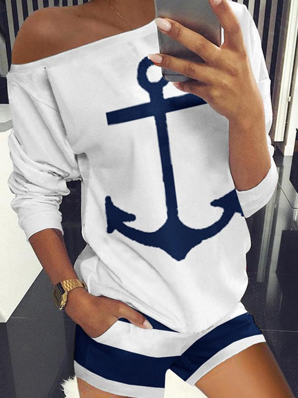 Casual Printed Short-Sleeved T-Shirt Suit