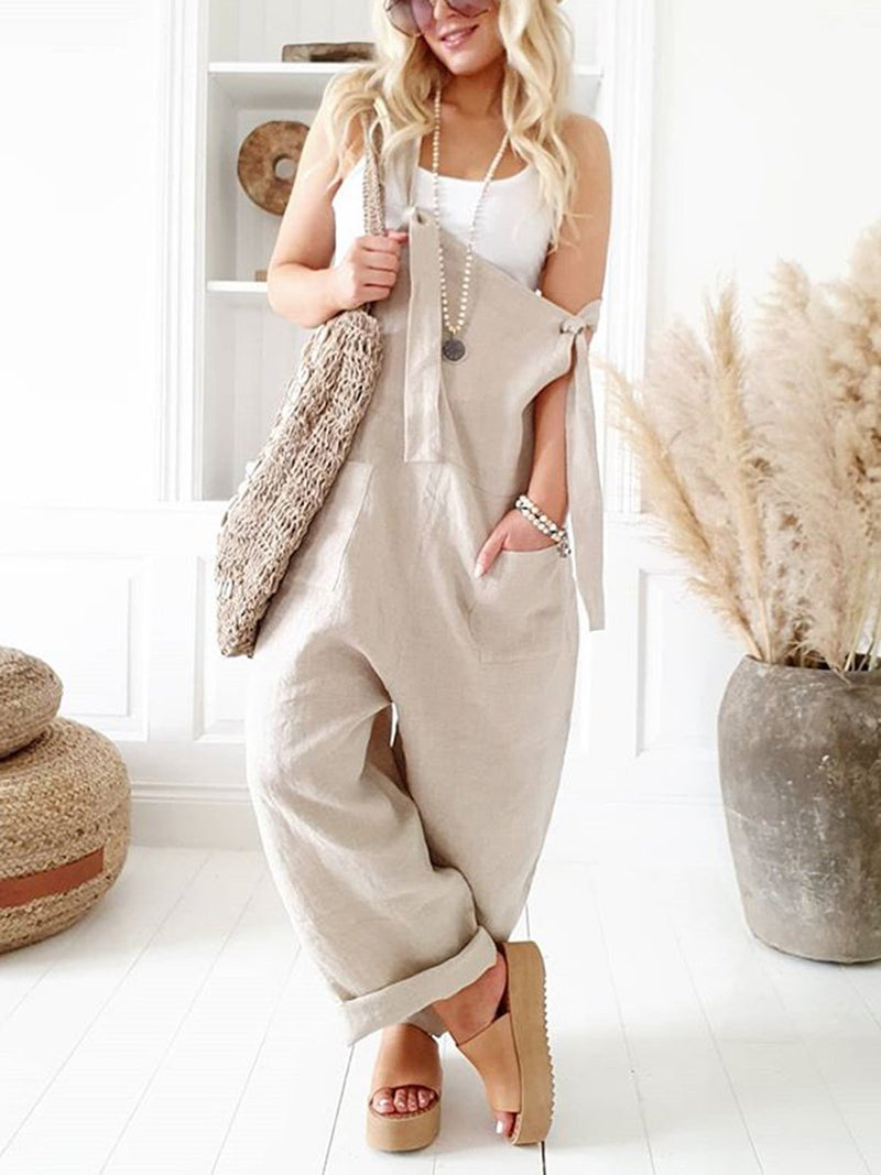 Fashionable Solid Color Casual Sling Jumpsuit