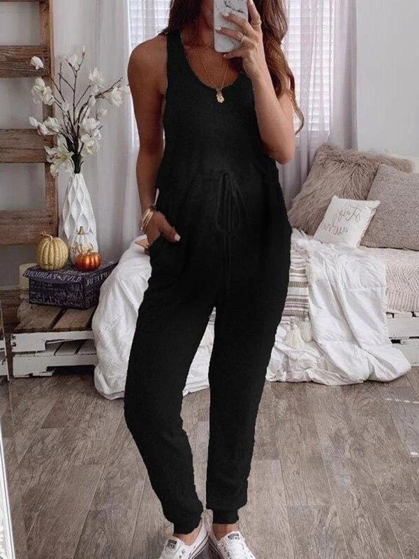 Women's Pregnant Women Lace Up Leisure Jumpsuit