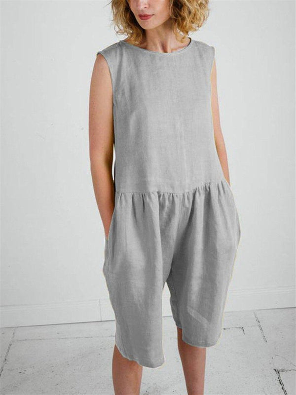 Casual Loose Cotton-Linen Jumpsuit