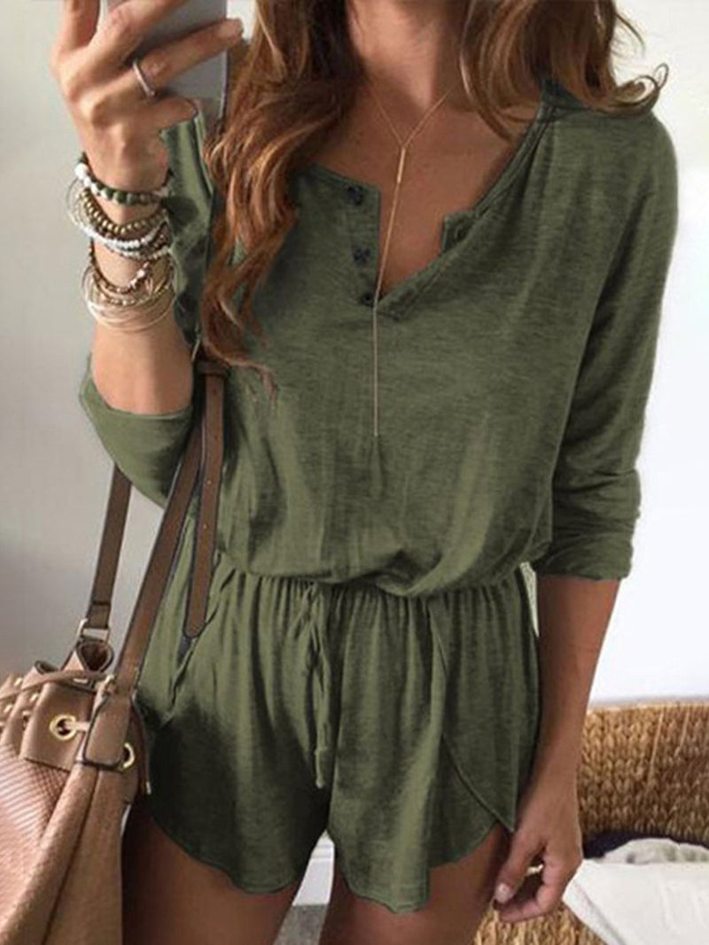 Solid Color Lace Long Sleeve Shorts Jumpsuit