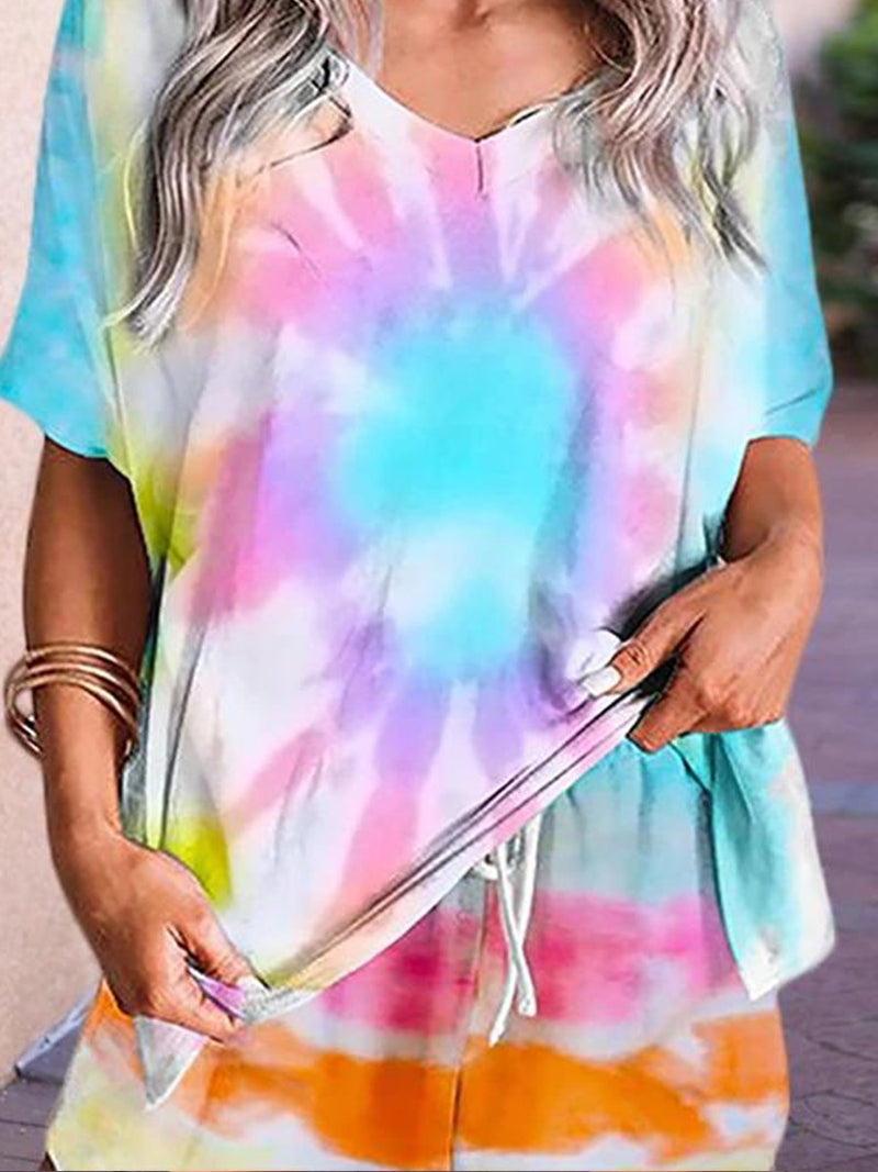 Tie-dye Sun Print Short Sleeve Two-piece Suit