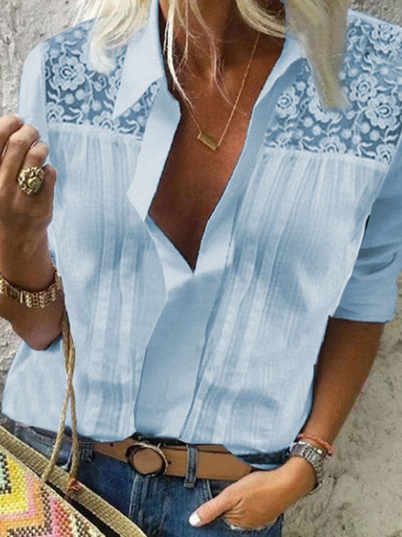 Simple Casual Loose Lace Shirt