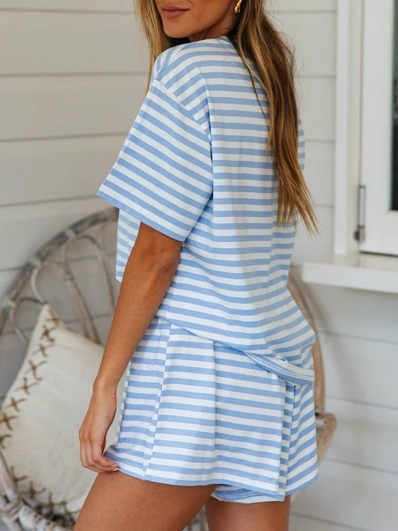 Fashion Striped Short Sleeve Suit