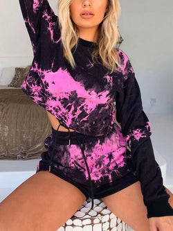 Fashion Casual Long Sleeve Print Shorts Two Piece Set