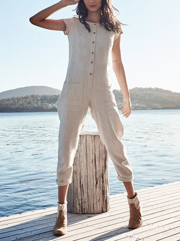 Casual Short Sleeve Jumpsuit