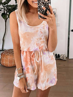 Tie-dye Casual Sleeveless Shorts Jumpsuit