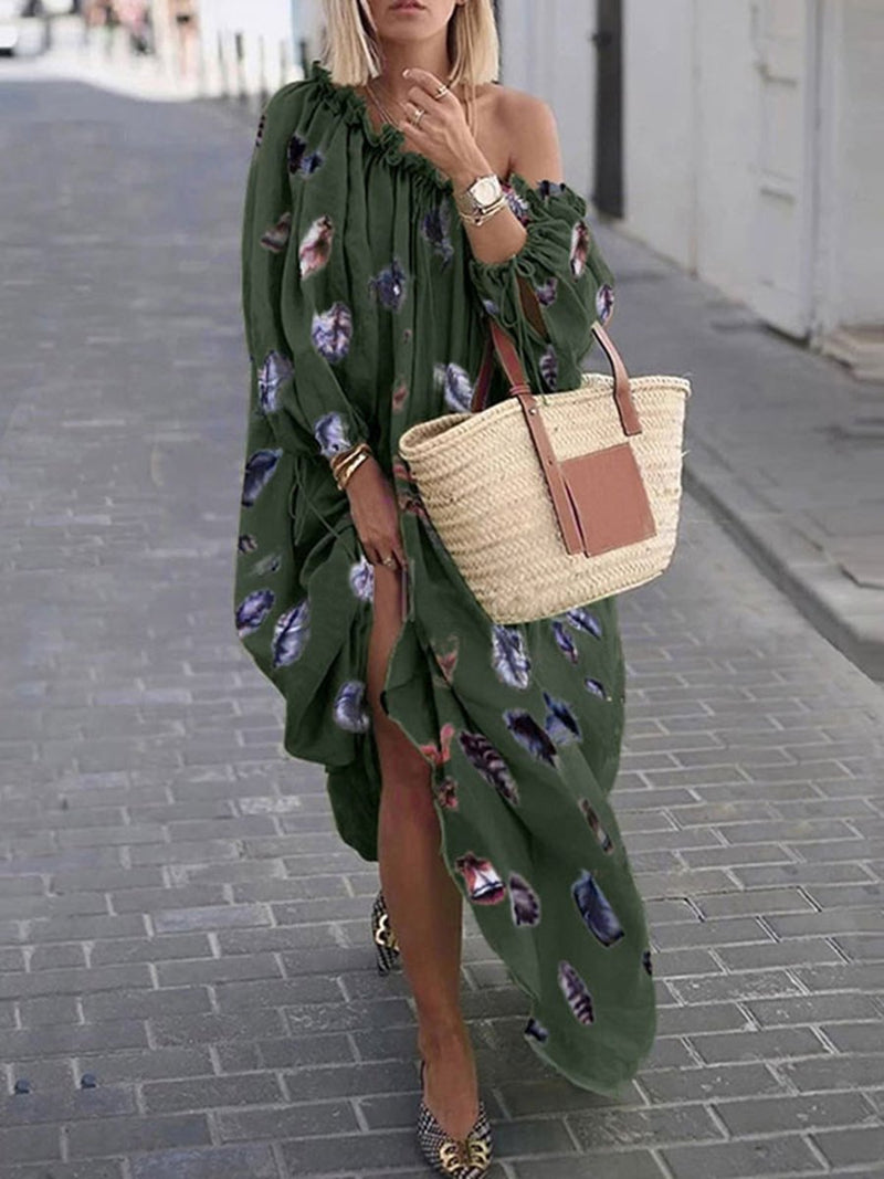 One Shoulder  Long Sleeves Maxi Dresses