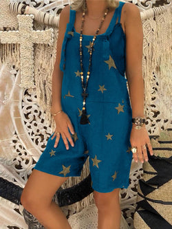 Fashion Wild Star Print Short Jumpsuit