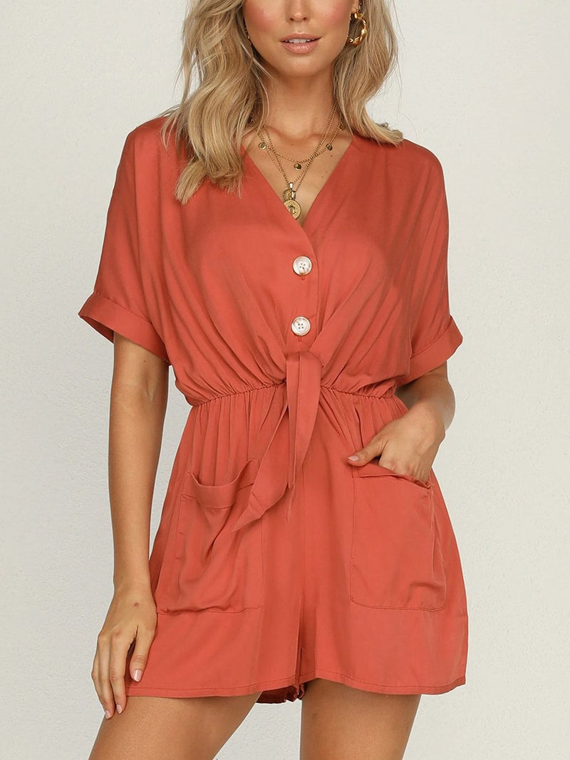 Lace-up Short Casual Jumpsuit