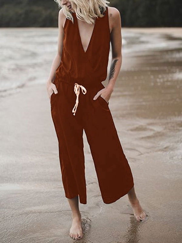 V-neck Loose Casual Jumpsuit