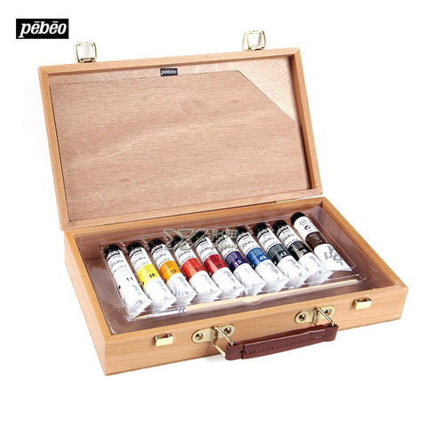 Estojo completo France Pebeo Portable beginners 20 ml 10 color acrylic pigment brushes palette high-grade wooden box suit
