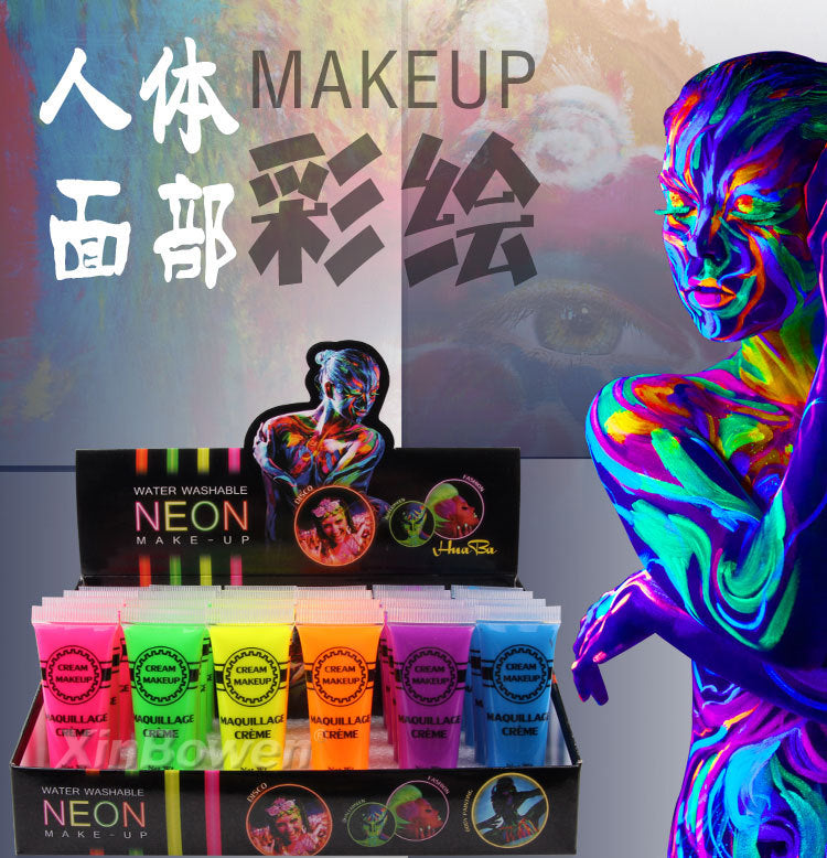 Colorful Makeup Face Acrylic Paint for Halloween Environmental Body Painting Intense Neon Face & Body Paint Dance Festival Rave