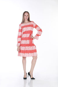 SERPIL SHORT CHIFFON DRESS - Coral - Trendyul