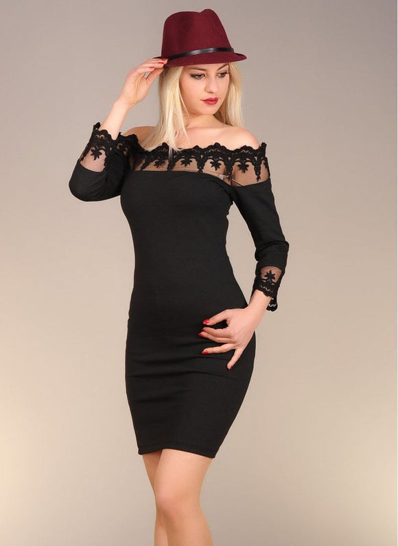 Vavin MESH PANELED DRESS - Black - Trendyul