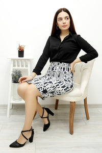 Women's Patterned Black White Pencil Short Skirt - Trendyul